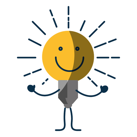 Happy bulb light cartoon icon.