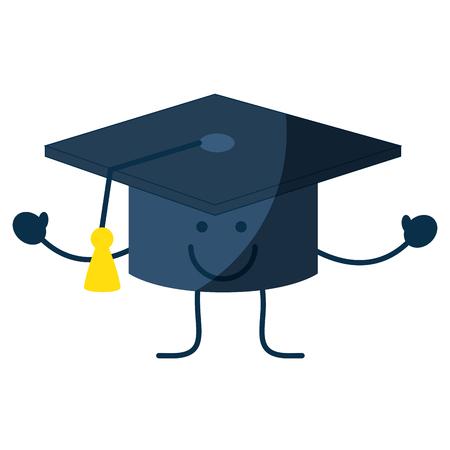 Happy graduation cap cartoon icon.