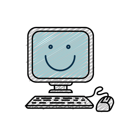 computer education: happy computer cartoon icon over white background. colorful design. vector illustration Illustration