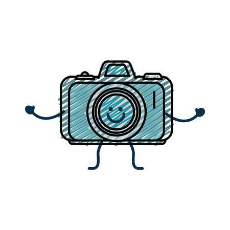 happy camera icon over white background. vector illustration Illustration