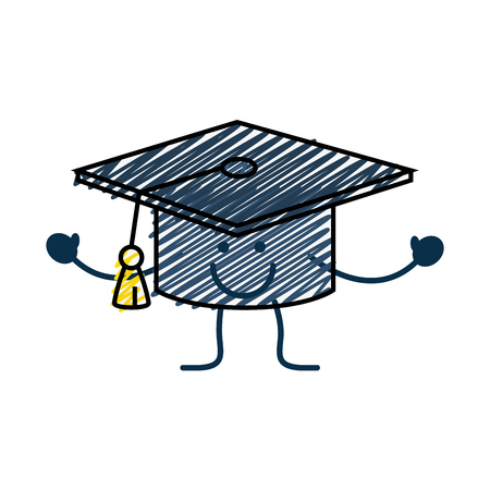 happy graduation cap cartoon icon over white background. vector illustration Illustration