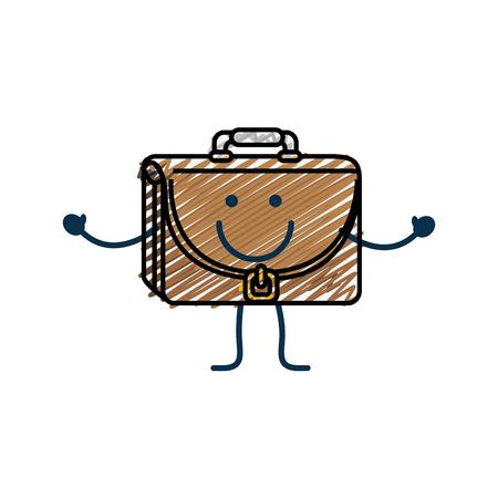 happy briefcase cartoon icon over white background. colorful design. vector illustration Illustration