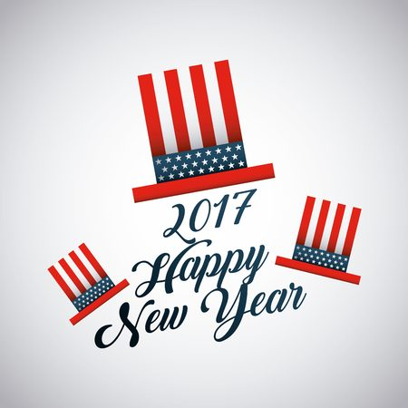 happy new year text: Happy new year card with usa concept. colorful design. vector illustration