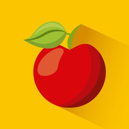 red apple fruit icon ove yellow background. vector illustration