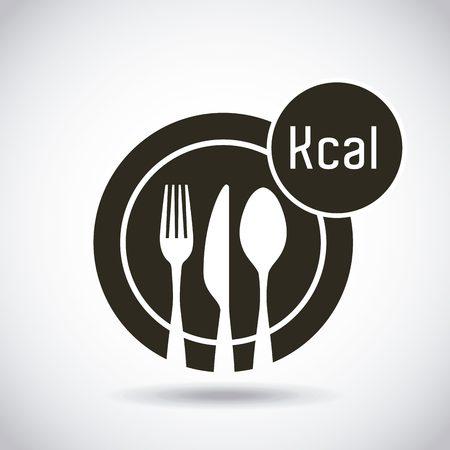 schotel met zilverwerk met calorieën pictogram. gezond voedsel voor een dieetontwerp. vectorillustratie