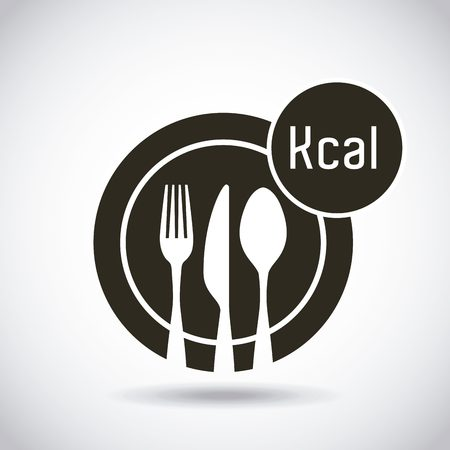 dish with silverware with calories icon. healthy food for dieting design. vector illustration