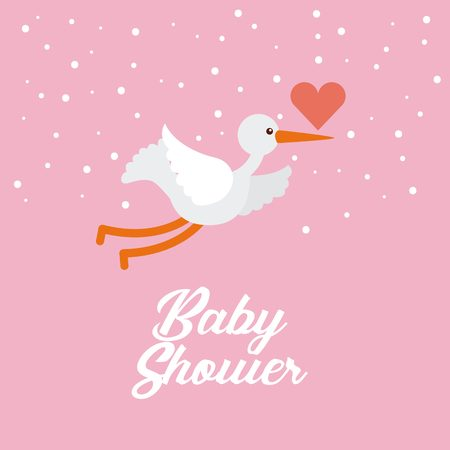 funny baby: baby shower card with stork and heart icon. colorful design. vector illustration Illustration