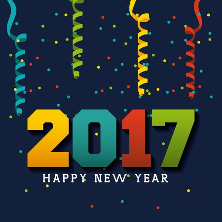happy new year text: Happy new year 2017 card with decorative serpentine. colorful design. vector illustration Illustration