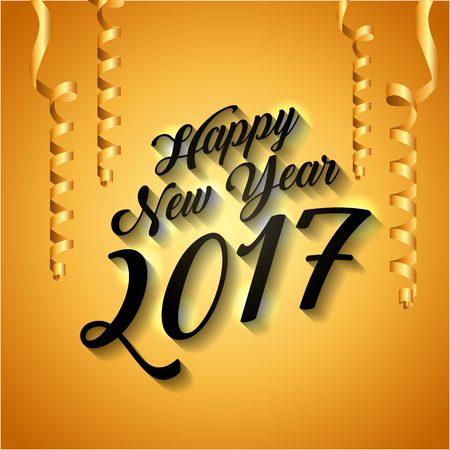 Gelukkig nieuw jaar 2017 kaart met decoratieve serpentine. kleurrijk ontwerp. vectorillustratie Stock Illustratie