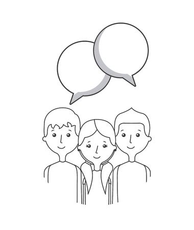 cartoon people with communication bubbles over white background. vector illustration