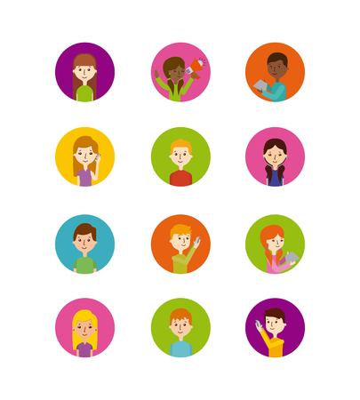 icons set of people in colorful circles over white background. vector illustration Illustration