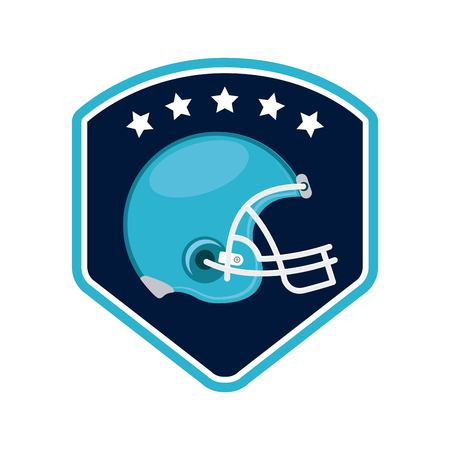 american football blue helmet in badge over white background. colorful design. vector illustration