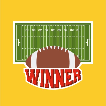 american football ball with green field over yellow background. colorful design. vector illustration