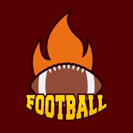american football ball with flame. colorful design. vector illustration Ilustração