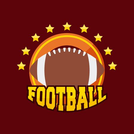 american football ball sport equipment with decorative stars. colorful design. vector illustration