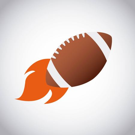 american football ball with flame over white background. colorful design. vector illustration