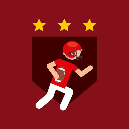 shield with american football player and decorative stars over red background . colorful design. vector illustration