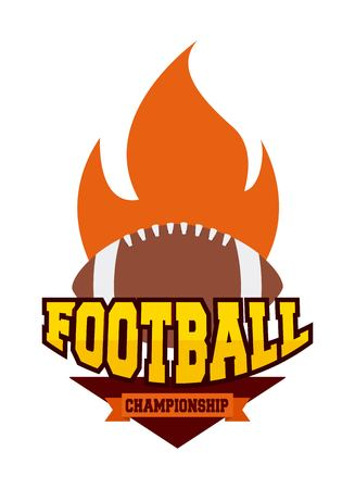 american football championship with ball in flames icon. colorful design. vector illustration
