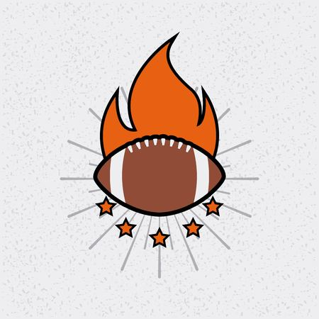 american football ball with decorative flames and stars. colorful design. vector illustration