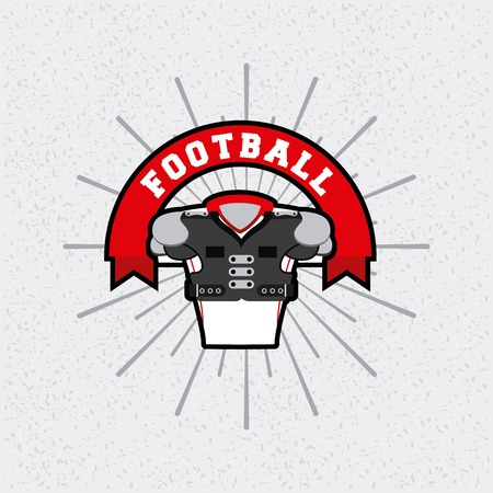 american football with body protection element over white background.  colorful design. vector illustration