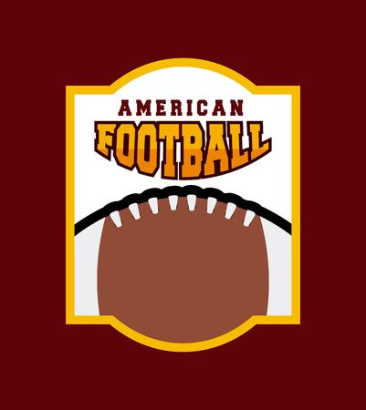 american football with ball icon over red background. colorful design. vector illustration