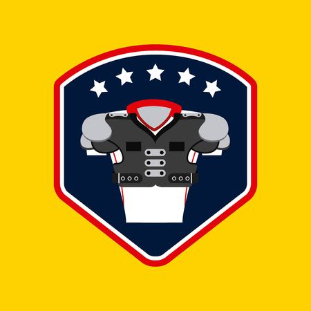 american football with body protection element over  yellow background.  colorful design. vector illustration