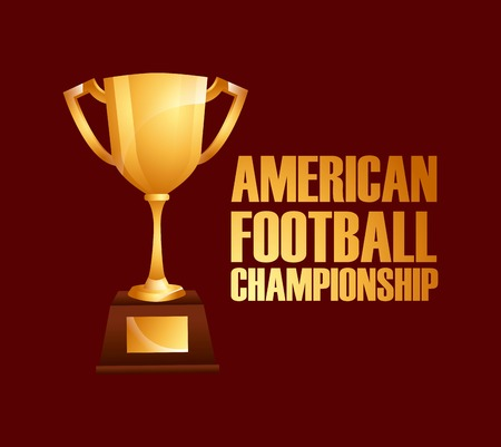 american football championship with gold trophy over red background. colorful design. vector illustration