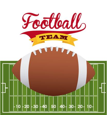 american football ball and green field icons. colorful design. vector illustration Ilustração