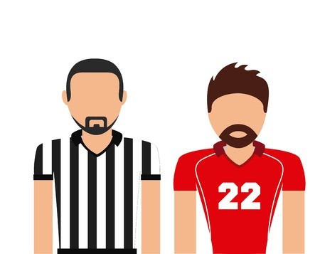 american football player and referee over white background. colorful design. vector illustration Ilustração