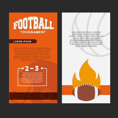 card of american football with ball in flames icon. colorful design. vector illustration