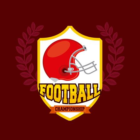 american football with red helmet icon. colorful design. vector illustration