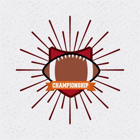 american football ball with sunburst over white background. colorful design. vector illustration Ilustração