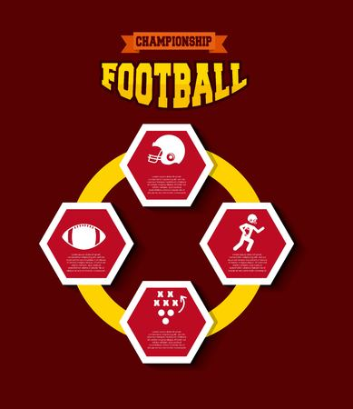 infographic presentation of american football  sport with red background. colorful design. vector illustration Ilustração
