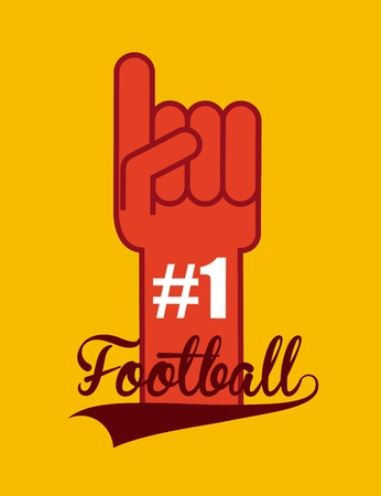 american football number one finger icon over white background. colorful design. vector illustration