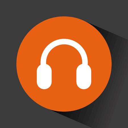 headphone audio device icon inside orange circle  over black background. vector illustration Illustration