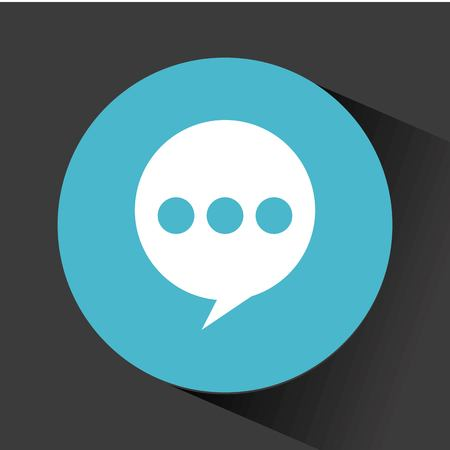 speech bubble icon inside blue circle over black background. vector illustration