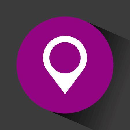 location pin icon inside purple circle over backgorund. vector illustration