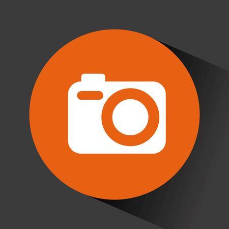 photographic camera icon inside orange circle over black background. vector illustration