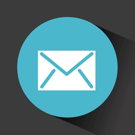 envelope icon in blue circle over black background. vector illustration
