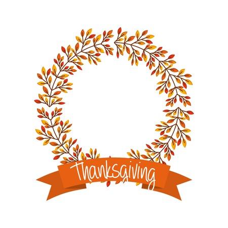 Gelukkige dankzeggingskaart met krans van herfstbladeren. kleurrijk ontwerp. vector illustratie