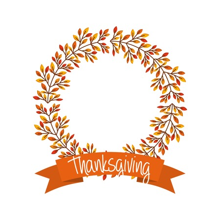 happy thanksgiving card with wreath of autumn leaves. colorful design. vector illustration