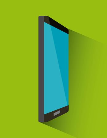 smartphone device icon over green background. vector illustration