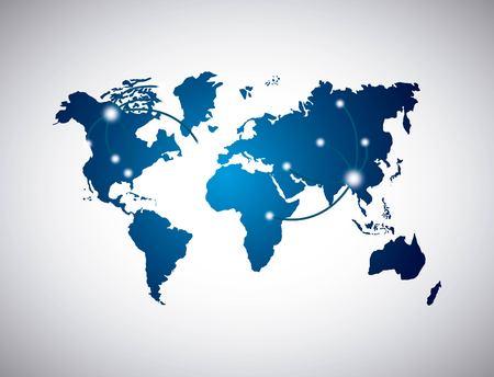 blue world map over white background. vector illustration