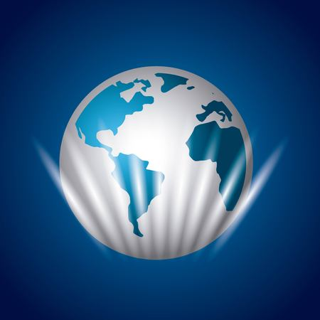 earth planet icon over blue background. vector illustration