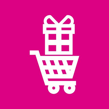 Supermarket trolley and gift box icon over pink background. vector illustration