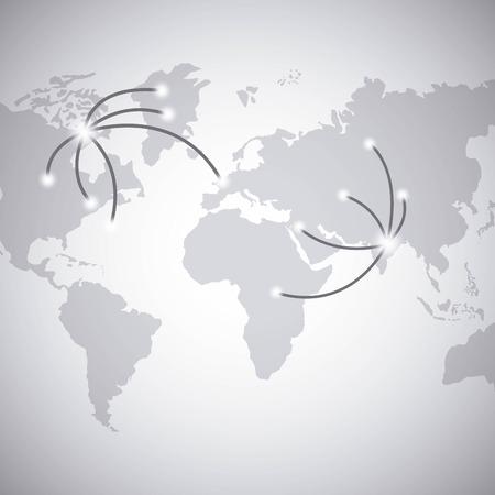 gray world map over white background. vector illustration