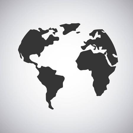 balck world map over white background. vector illustration Çizim