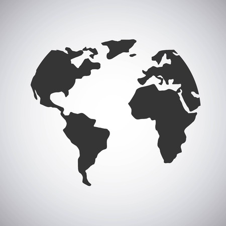 balck world map over white background. vector illustration Illustration