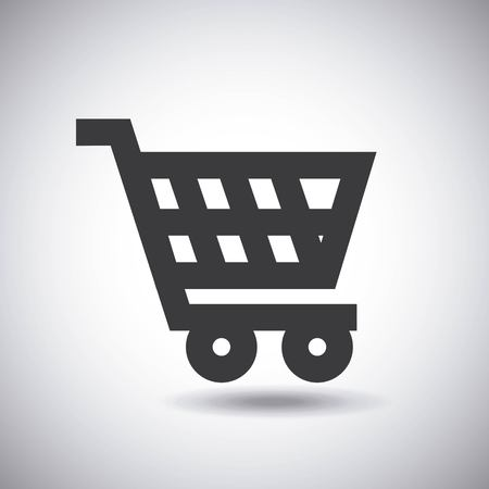 supermarket cart icon over white background. vector illustration