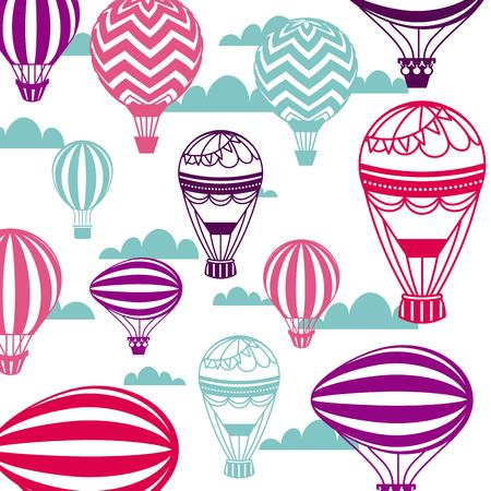 air balloon and sky background. colorful design. vector illustration Illustration